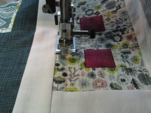 Blue Leave by Melanie Vincent - quilting in progress