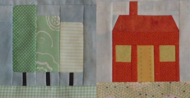 Tree and house paper pieced blocks