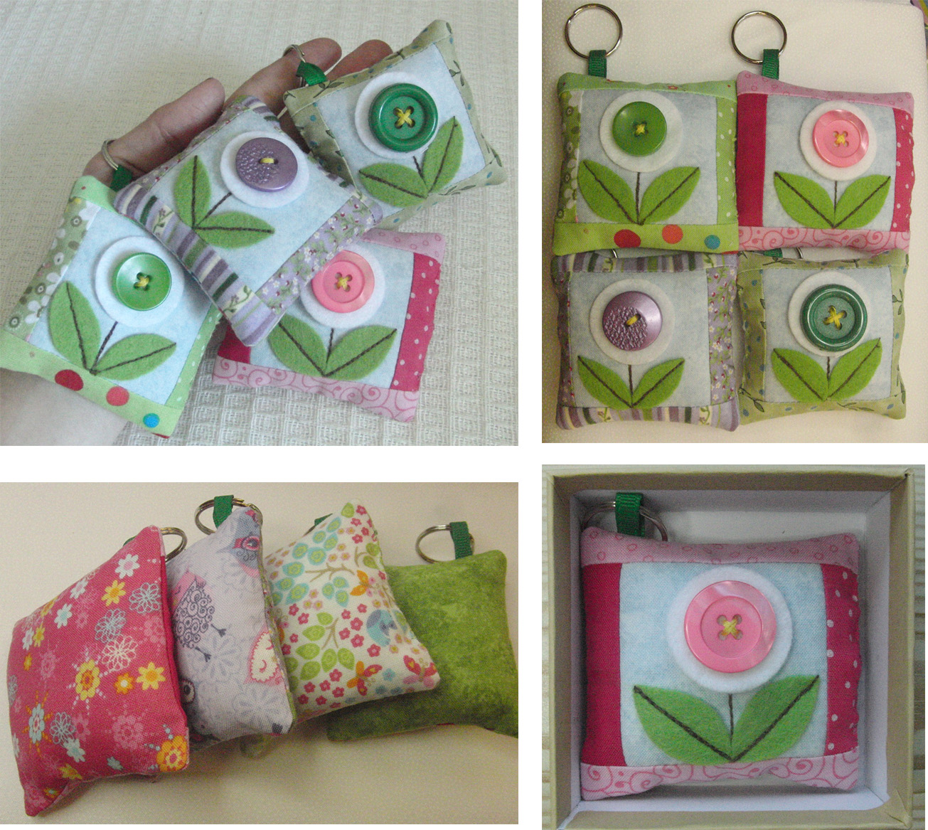 Small patchwork bag charm montage