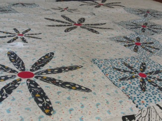 Applique flowers - blocks laid out